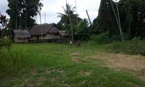 Kinderen spelen in een dorpje